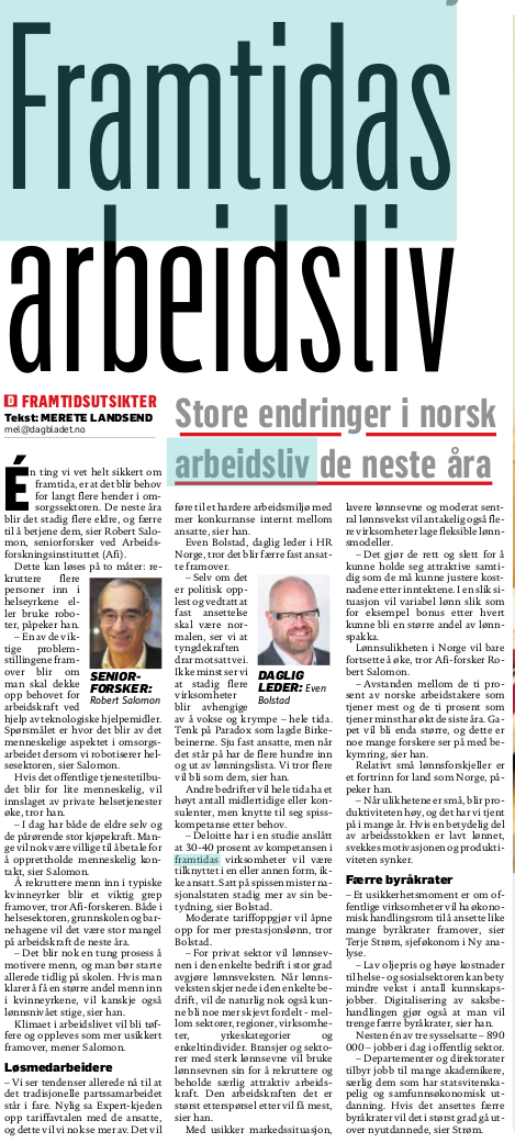 20160404 Dagbladet Framtidas arbeidsliv