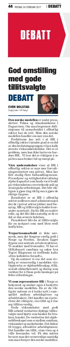 2017 02 24 Dagsavisen God omstilling med gode tillitsvalgte debattinnlegg