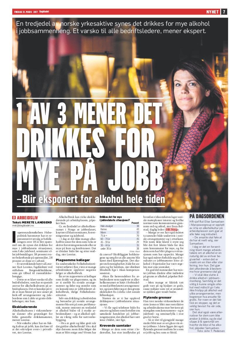 2017 03 31 Dagbladet Alkohol paa jobb