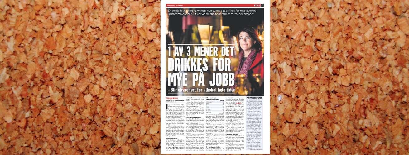 2017 03 31 Dagbladet Alkohol paa jobb oppslag